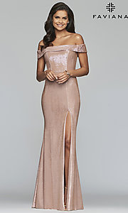Image of fold-over off-the-shoulder metallic prom dress. Style: FA-S10216 Detail Image 4