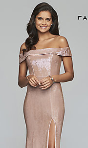 Image of fold-over off-the-shoulder metallic prom dress. Style: FA-S10216 Detail Image 6