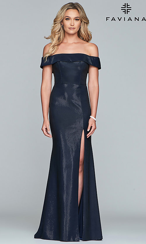 Image of fold-over off-the-shoulder metallic prom dress. Style: FA-S10216 Detail Image 3