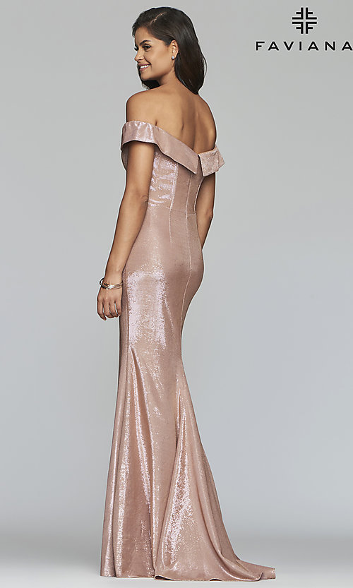 Image of fold-over off-the-shoulder metallic prom dress. Style: FA-S10216 Detail Image 5