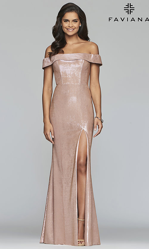 Image of fold-over off-the-shoulder metallic prom dress. Style: FA-S10216 Detail Image 8