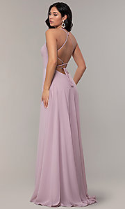 Image of long Faviana a-line prom dress with open back. Style: FA-S10233 Detail Image 4