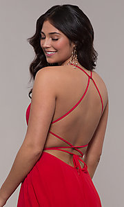 Image of long Faviana a-line prom dress with open back. Style: FA-S10233 Detail Image 2