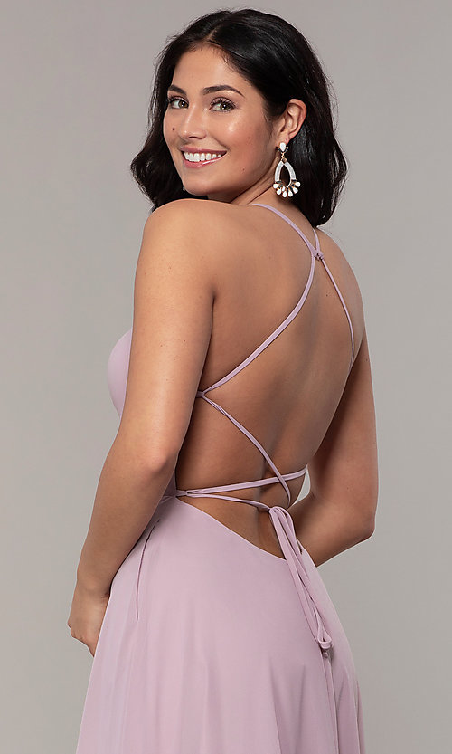 Image of long Faviana a-line prom dress with open back. Style: FA-S10233 Detail Image 6