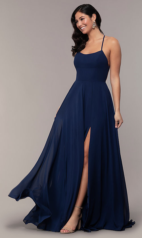 Image of long Faviana a-line prom dress with open back. Style: FA-S10233 Detail Image 7