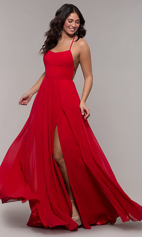 Image of long Faviana a-line prom dress with open back. Style: FA-S10233 Front Image