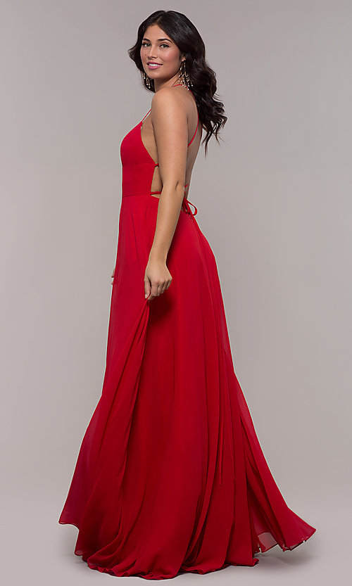 Image of long Faviana a-line prom dress with open back. Style: FA-S10233 Back Image
