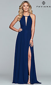 Image of Faviana long chiffon formal dress with back bow. Style: FA-S10235 Front Image