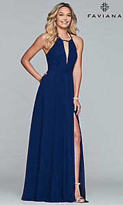 Image of Faviana long chiffon formal dress with back bow. Style: FA-S10235 Detail Image 3