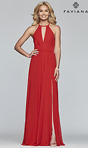 Image of Faviana long chiffon formal dress with back bow. Style: FA-S10235 Detail Image 4