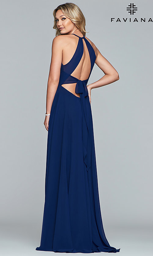 Image of Faviana long chiffon formal dress with back bow. Style: FA-S10235 Back Image
