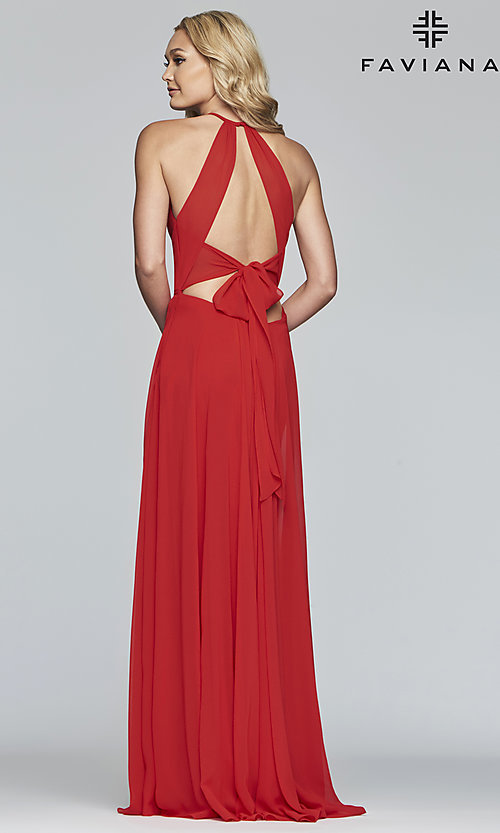 Image of Faviana long chiffon formal dress with back bow. Style: FA-S10235 Detail Image 5
