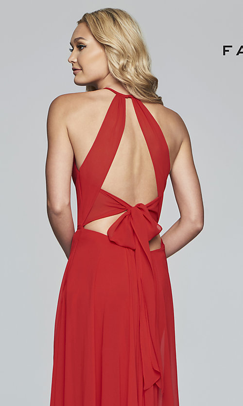 Image of Faviana long chiffon formal dress with back bow. Style: FA-S10235 Detail Image 7