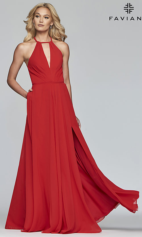 Image of Faviana long chiffon formal dress with back bow. Style: FA-S10235 Detail Image 8