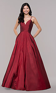Image of long Faviana a-line formal gown with pockets. Style: FA-S10249 Detail Image 4
