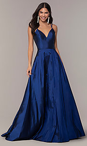 Image of long Faviana a-line formal gown with pockets. Style: FA-S10249 Front Image