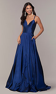 Image of long Faviana a-line formal gown with pockets. Style: FA-S10249 Detail Image 3