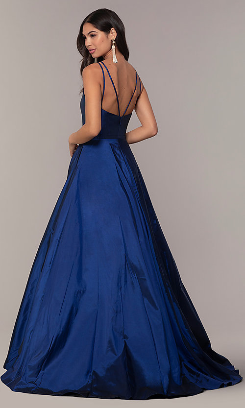 Image of long Faviana a-line formal gown with pockets. Style: FA-S10249 Back Image