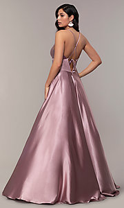 Image of v-neck long Faviana prom dress with open v-back. Style: FA-S10255 Detail Image 2