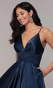 Image of v-neck long Faviana prom dress with open v-back. Style: FA-S10255 Detail Image 1