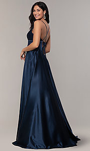 Image of v-neck long Faviana prom dress with open v-back. Style: FA-S10255 Back Image