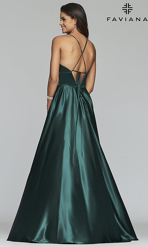 Image of v-neck long Faviana prom dress with open v-back. Style: FA-S10255 Detail Image 7