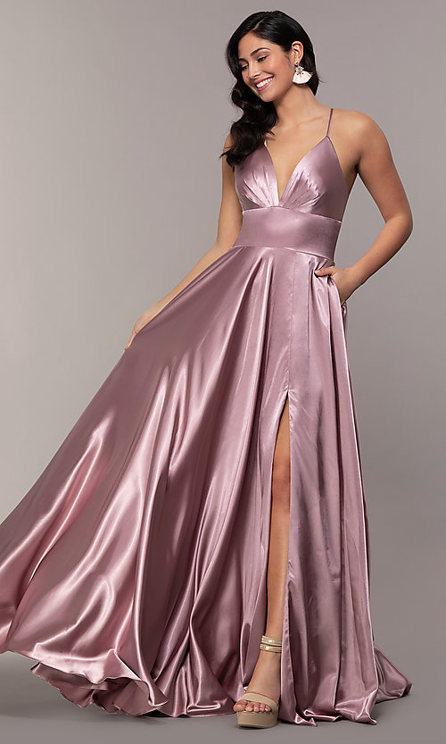 Image of v-neck long Faviana prom dress with open v-back. Style: FA-S10255 Detail Image 3