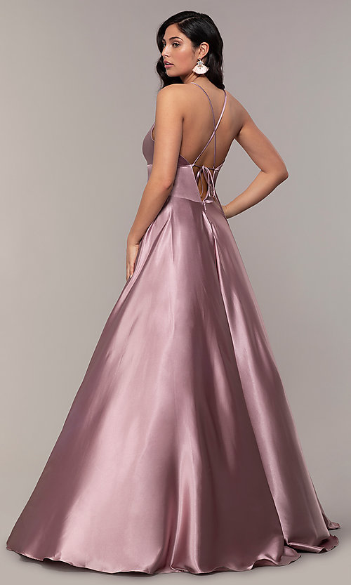 Image of v-neck long Faviana prom dress with open v-back. Style: FA-S10255 Detail Image 4