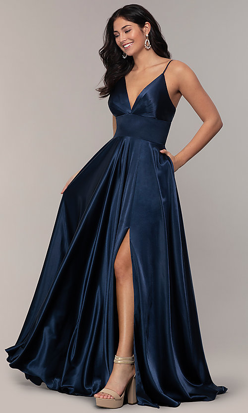 Image of v-neck long Faviana prom dress with open v-back. Style: FA-S10255 Front Image