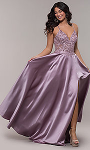 Image of long a-line satin prom dress with beaded bodice. Style: FA-S10253 Front Image