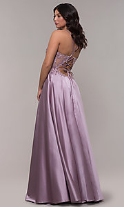 Image of long a-line satin prom dress with beaded bodice. Style: FA-S10253 Detail Image 1