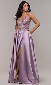 Image of long a-line satin prom dress with beaded bodice. Style: FA-S10253 Detail Image 3