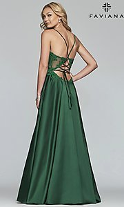 Image of long a-line satin prom dress with beaded bodice. Style: FA-S10253 Back Image