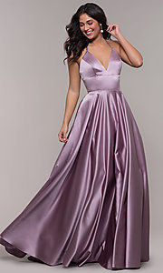 Image of long a-line v-neck prom dress by Faviana. Style: FA-S10252 Front Image