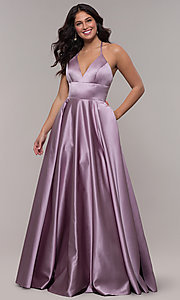 Image of long a-line v-neck prom dress by Faviana. Style: FA-S10252 Detail Image 3