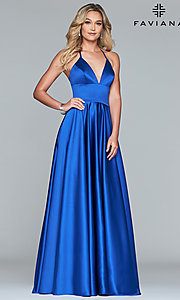 Image of long a-line v-neck prom dress by Faviana. Style: FA-S10252 Detail Image 4