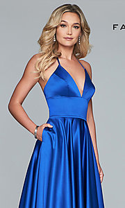 Image of long a-line v-neck prom dress by Faviana. Style: FA-S10252 Detail Image 6