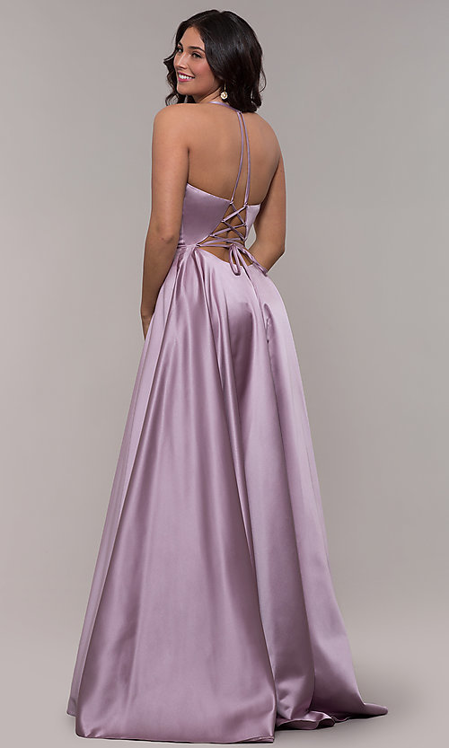 Image of long a-line v-neck prom dress by Faviana. Style: FA-S10252 Back Image