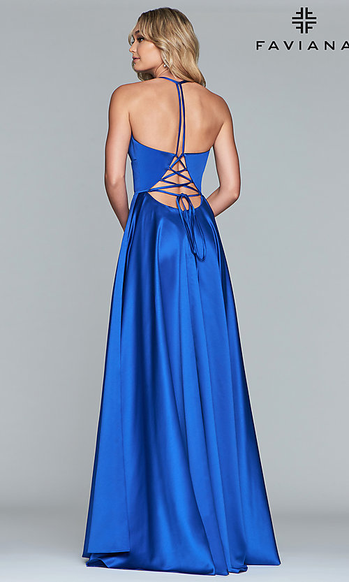 Image of long a-line v-neck prom dress by Faviana. Style: FA-S10252 Detail Image 5