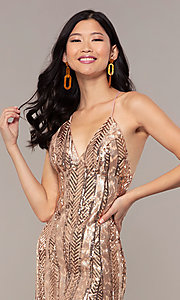 Image of Faviana rose gold long sequin formal prom dress. Style: FA-ES10112 Detail Image 1
