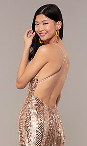 Image of Faviana rose gold long sequin formal prom dress. Style: FA-ES10112 Detail Image 2
