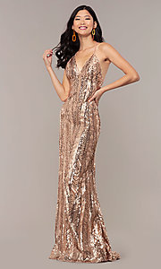 Image of Faviana rose gold long sequin formal prom dress. Style: FA-ES10112 Detail Image 3