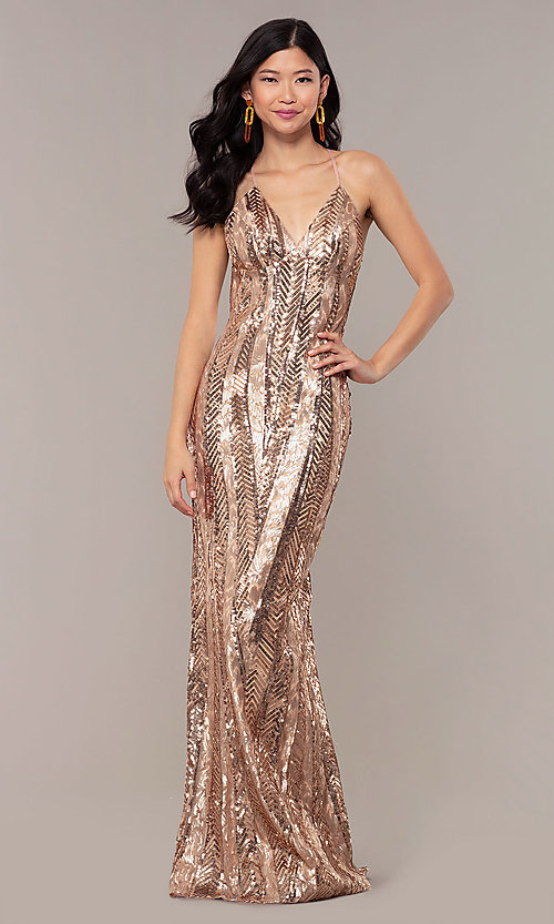 Image of Faviana rose gold long sequin formal prom dress. Style: FA-ES10112 Front Image