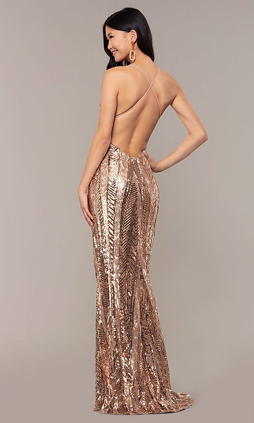 Image of Faviana rose gold long sequin formal prom dress. Style: FA-ES10112 Back Image