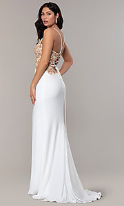 Image of long ivory formal dress with rose gold beads. Style: FA-S10269 Back Image