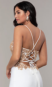 Image of long ivory formal dress with rose gold beads. Style: FA-S10269 Detail Image 2