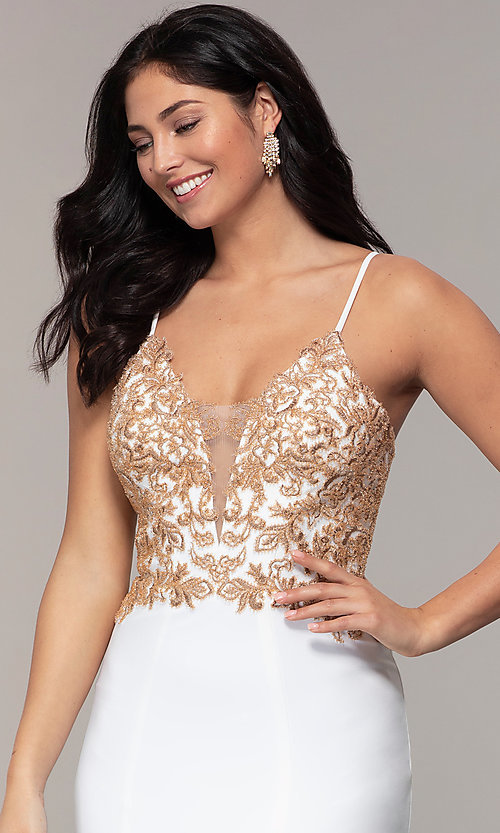 Image of long ivory formal dress with rose gold beads. Style: FA-S10269 Detail Image 1