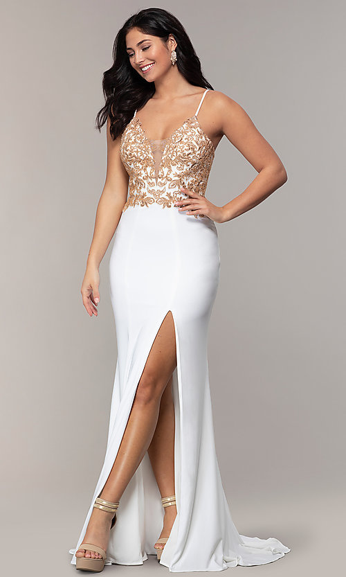 Image of long ivory formal dress with rose gold beads. Style: FA-S10269 Detail Image 3