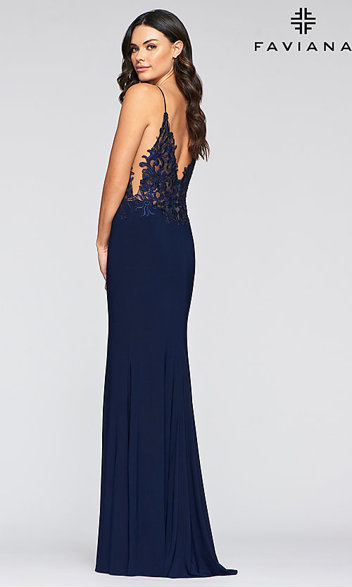 Image of embroidered-bodice long Faviana formal prom dress. Style: FA-S10275 Back Image