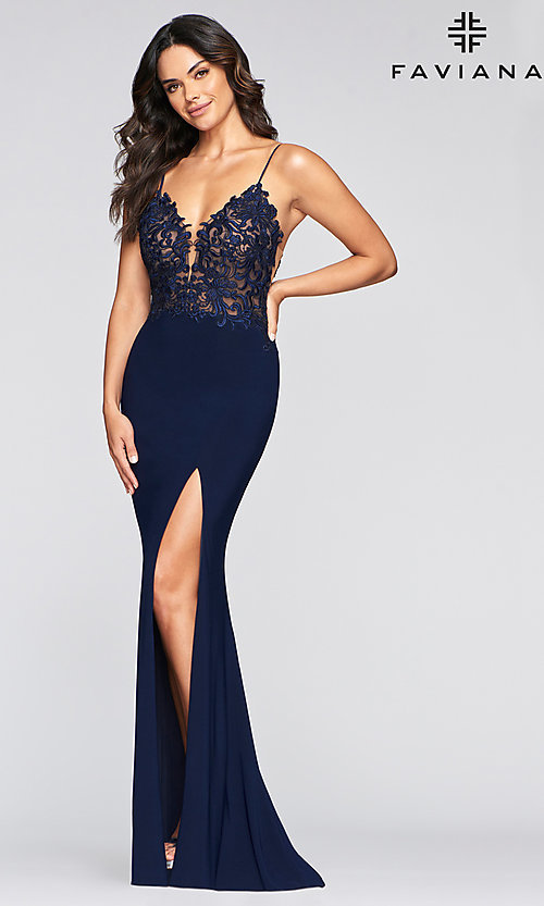 Image of embroidered-bodice long Faviana formal prom dress. Style: FA-S10275 Detail Image 1